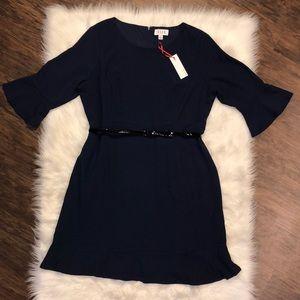 Elle Flounce-Hem Navy Blue Dress | XL